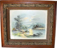 17044 Victorian Oak Heavy Carved Picture Frame with Cabin Scene Print