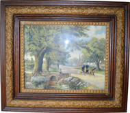 SOLD Victorian Oak Picture Frame with Horse and Buggy Print