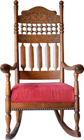 SOLD Victorian Oak Carved Stick and Ball Fancy Rocker