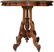 SOLD Victorian Carved Walnut Turtle Top Stand