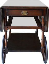 SOLD Mahogany Banded Drop Leaf Large Wheel Dessert Tea Cart