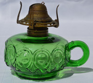 SOLD Rare Green Bulls Eye Oil Lamp