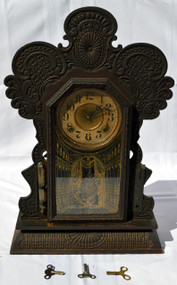 Sold Victorian Oak Gingerbread Clock by Ingraham