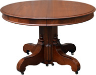 SOLD Victorian Round Walnut Dining Table with Two Leaves