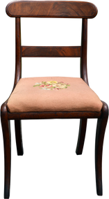 SOLD Empire Flame Mahogany Needlepoint Ladies Desk Chair