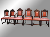 SOLD Set of 6 Oak Carved Dining Chairs
