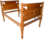SOLD Period Country Bird's Eye Maple Cannon Ball Bed