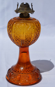 SOLD Amber Stem Waffle Design Oil Lamp