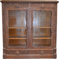 SOLD Oak Heavy Carved Two Door Four Drawer Bookcase – Paine Quality