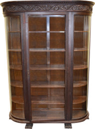 18252 Large Mahogany Carved China Closet