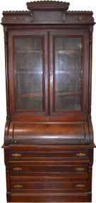 SOLD Victorian Walnut Cylinder Secretary with Burl Pillars