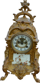 SOLD Victorian Cast Gold Wash Metal Shelf Clock by Waterbury