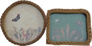 SOLD Two Antique Wicker Glass Trays with Butterflies