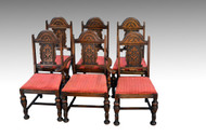 SOLD Set of Six Carved Oak Gothic Style Dining Chairs