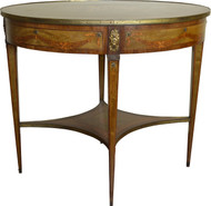 SOLD Inlaid Oval Banded Table with Cupids