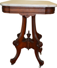 SOLD Victorian Marble Top Walnut Parlor Stand