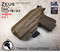 """ARES Holster shown for the Glock 23 equipped with the Surefire XC1 weapon mounted light, Right Hand Draw, in Coyote Tan, with Coyote Tan Enhanced Triad Spartan 1.5"""" Clip, Zero Cant Angle."""