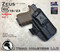 """ARES Holster shown for the Glock 23 equipped with the Surefire XC1 weapon mounted light, Right Hand Draw, in Tactical Black, with Black Enhanced Triad Spartan 1.5"""" Clip, Zero Cant Angle"""