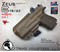 """ARES Holster shown for the Glock 19 equipped with the Surefire XC1 weapon mounted light and a RMR Optic, Right Hand Draw, in Coyote Tan, with Coyote Tan Enhanced Triad Spartan 1.5"""" Clip, Zero Cant Angle"""