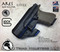 """ARES Holster shown for the Glock 17 , Right Hand Draw, in Tactical Black, with Black Enhanced Triad Spartan 1.5"""" Clip, 15 Degree Cant Angle, with Talon Claw."""
