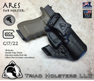 "ARES Holster shown for the Glock 22 , Right Hand Draw, in Tactical Black, with Black Enhanced Triad Spartan 1.5"" Clip, 15 Degree Cant Angle, with Talon Claw."