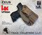 """ZEUS Holster shown for the HK VP9SK, Right Hand Draw, in Coyote Tan, with Black Enhanced Triad Spartan 1.5"""" Clip, Zero Cant Angle."""