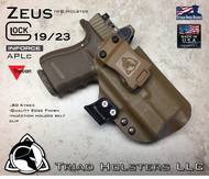"ARES Holster shown for the Glock 19 equipped with the Inforce APLc weapon mounted light and a RMR Optic, Right Hand Draw, in Coyote Tan, with Coyote Tan Enhanced Triad Spartan 1.5"" Clip, Zero Cant Angle"