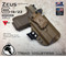 """ARES Holster shown for the Glock 19 equipped with the Inforce APLc weapon mounted light and a RMR Optic, Right Hand Draw, in Coyote Tan, with Coyote Tan Enhanced Triad Spartan 1.5"""" Clip, Zero Cant Angle"""