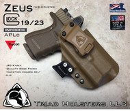 "ARES Holster shown for the Glock 23 equipped with the Inforce APLc weapon mounted light and a RMR Optic, Right Hand Draw, in Coyote Tan, with Coyote Tan Enhanced Triad Spartan 1.5"" Clip, Zero Cant Angle"