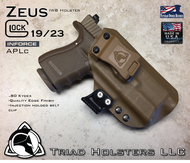 "ARES Holster shown for the Glock 23 equipped with the Inforce APLc weapon mounted light, Right Hand Draw, in Coyote Tan, with Coyote Tan Enhanced Triad Spartan 1.5"" Clip, Zero Cant Angle"