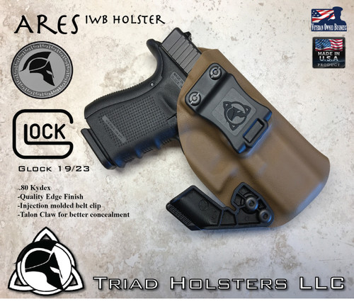 """ARES Holster shown for the Glock 19/23, Right Hand Draw, in Coyote Tan, with Black Enhanced Triad Spartan 1.5"""" Clip, Zero Cant Angle."""