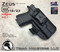 """ARES Holster shown for the Glock 19 equipped with the Surefire XC1 weapon mounted light, Right Hand Draw, in Tactical Black, with Black Enhanced Triad Spartan 1.5"""" Clip, Zero Cant Angle"""