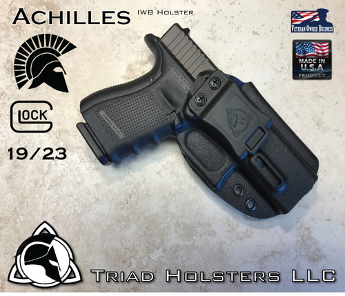 """Achilles Holster shown for the Glock 19, Right Hand Draw, in Tactical Black, with Triad Holsters Spartan Logo 1.5"""" Belt Clip,  Adjustable Cant Angle."""