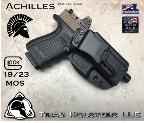 """Achilles Holster shown for the Glock 19 MOS, Right Hand Draw, in Tactical Black, with 1.75"""" Clip, Adjustable Cant Angle."""