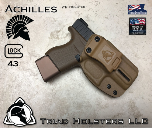 """Achilles Holster shown for the Glock 43, Right Hand Draw, in Coyote Tan, with 1.5"""" Clip,  Adjustable Cant Angle."""