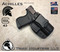 """Achilles Holster shown for the Glock 43, Right Hand Draw, in Tactical Black, with 1.75"""" Clip,  Adjustable Cant Angle."""