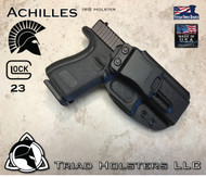 "Achilles Holster shown for the Glock 23, Right Hand Draw, in Tactical Black, with 1.75"" Clip,  Adjustable Cant Angle."