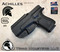 """Achilles Holster shown for the Glock 23, Right Hand Draw, in Tactical Black, with 1.75"""" Clip,  Adjustable Cant Angle."""