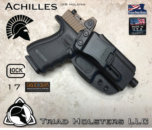 "Achilles Holster shown for the Glock 17 MOS, Right Hand Draw, in Tactical Black, with 1.75"" Clip, Adjustable Cant Angle."