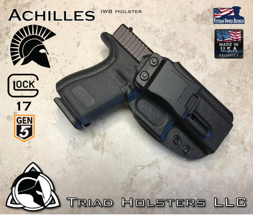 """Achilles Holster shown for the Glock 17 Gen 5, Right Hand Draw, in Tactical Black, with 1.75"""" Clip,  Adjustable Cant Angle."""