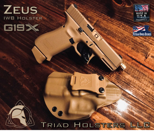"ZEUS Holster shown for the Glock 19X, Left Hand Draw, in Coyote, with Tan Enhanced Triad Spartan 1.5"" Clip, Zero Cant Angle."