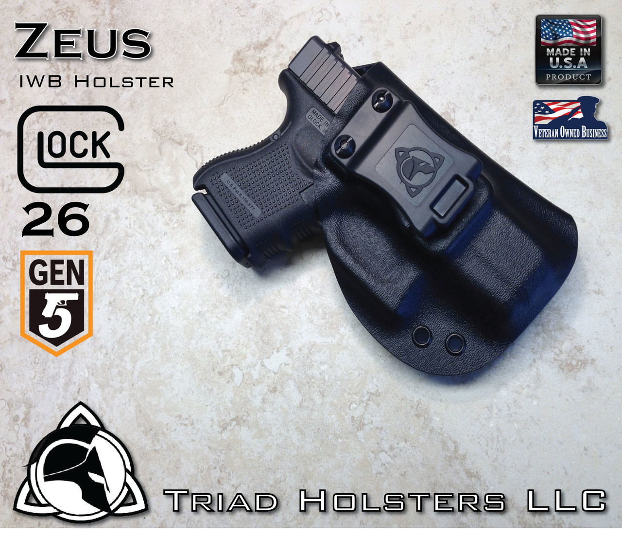 Kydex Holster Glock 26 Gen 5 Zeus IWB Inside the Waistband