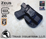 "ZEUS Holster shown for the Glock 26 Gen 5, Right Hand, in Tactical Black, with 1.5"" Clip, Zero Cant Angle, with Enhanced Triad Spartan Belt Clip"