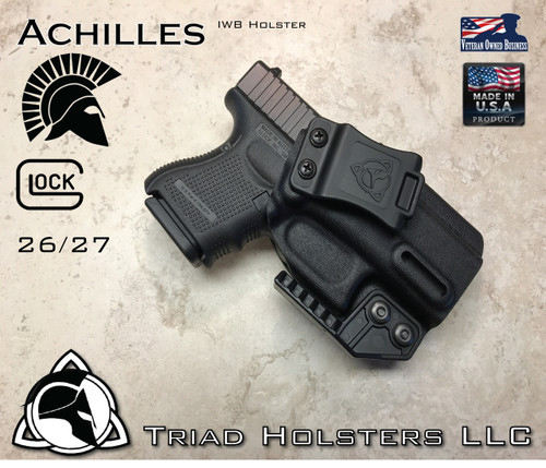 """Achilles Holster shown for the Glock 26/27, Right Hand Draw, in Tactical Black, with Triad Holsters Spartan Logo 1.5"""" Belt Clip, Adjustable Cant Angle, adjusted to 15 Degree in photo, with optional Talon Claw."""