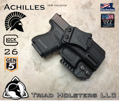 """Achilles Holster shown for the Glock 26 Gen 5, Right Hand Draw, in Tactical Black, with Triad Holsters Spartan Logo 1.5"""" Belt Clip, Adjustable Cant Angle, adjusted to 15 Degree in photo, with optional Talon Claw."""