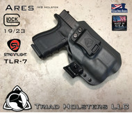 "ARES Holster shown for the Glock 23 equipped with the Streamlight TLR-7 weapon mounted light, Right Hand Draw, in Lonewolf Gray, with Black Enhanced Triad Spartan 1.5"" Clip, Zero Cant Angle"