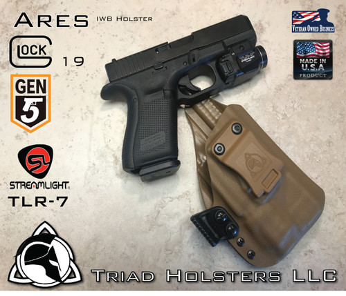 "ARES Holster shown for the Glock 19 Gen 5 equipped with the Streamlight TLR-7 weapon mounted light, Right Hand Draw, in Coyote Tan, with Coyote Tan Enhanced Triad Spartan 1.5"" Clip, Zero Cant Angle"
