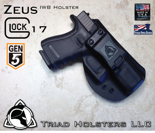 "Zeus Holster shown for the Glock 17 Gen 5, Right Hand Draw, in Tactical Black, with 1.5"" Belt Clip."