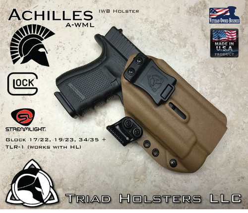 """Achilles Holster shown for the Glock 19/17/34 Various Models equipped with Streamlight TLR-1 and TLR-1HL, Right Hand Draw, in Coyote Tan, with 1.5"""" Clip, Adjustable Cant Angle and Retention."""