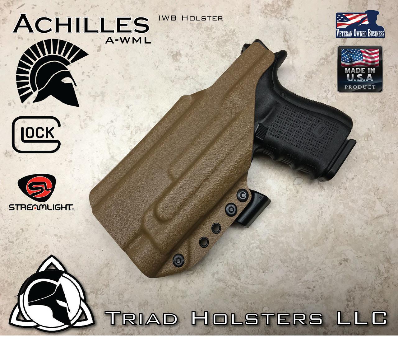 Kydex Holster Glock 19/17/34 Streamlight TLR-1/HL Achilles IWB Inside the  Waistband